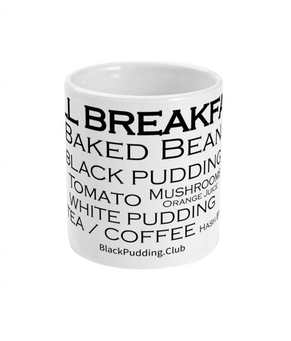 black pudding club full breakfast mug front mockup