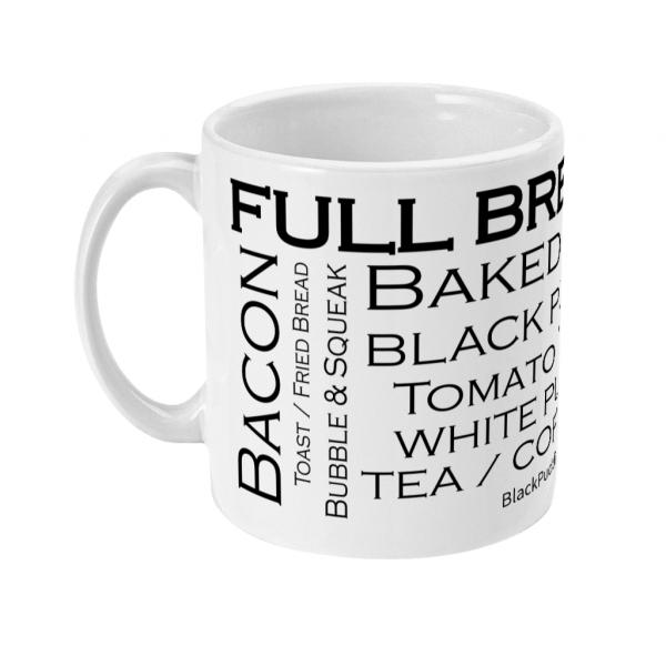 black pudding club full breakfast mug left side mockup