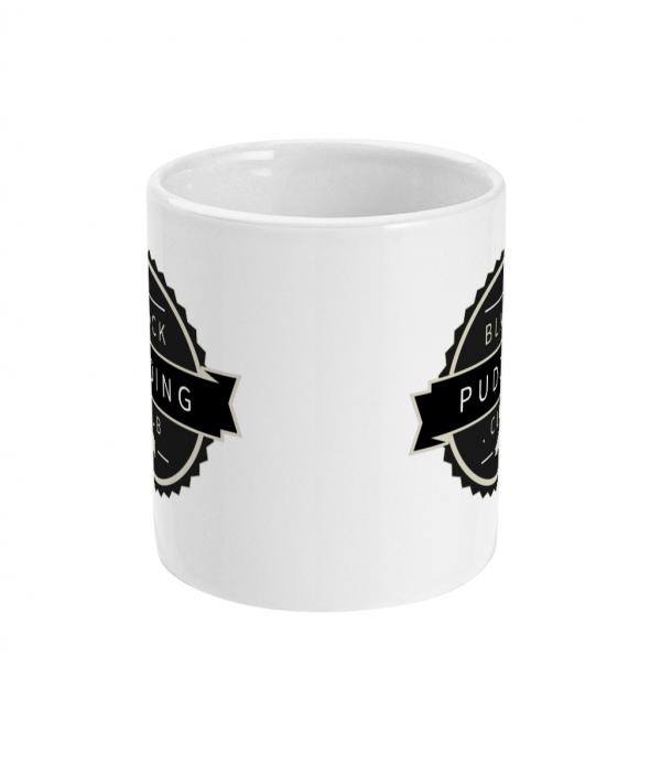 black pudding club logo ceramic mug front mockup