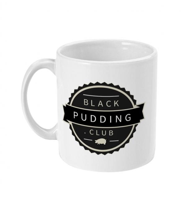 black pudding club logo ceramic mug left side mockup