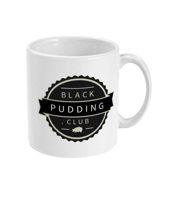 black pudding club logo ceramic mug right side mockup