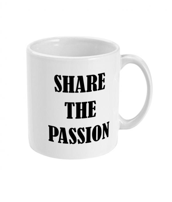 black pudding club logo share the passion ceramic mug right side mockup