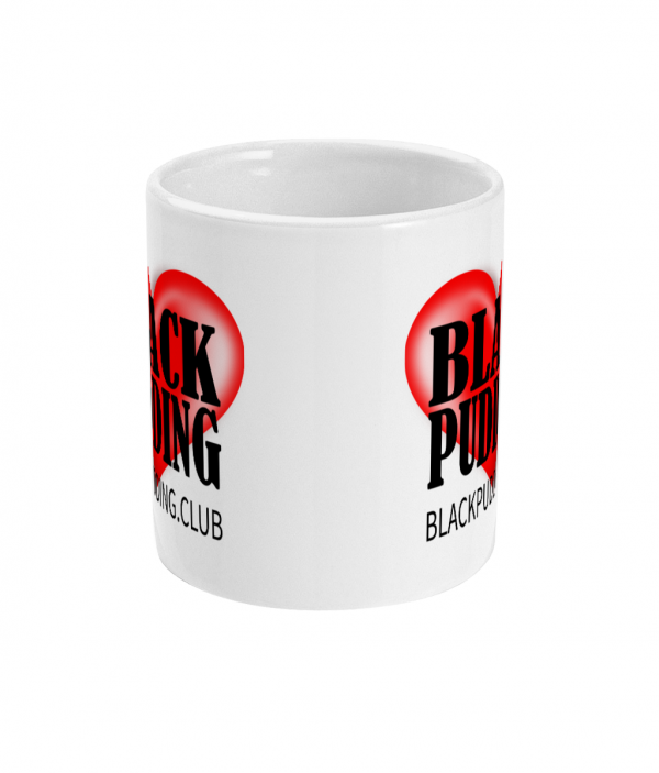 black pudding club love black pudding mug front mockup