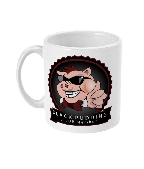 black pudding club member mug left side mockup