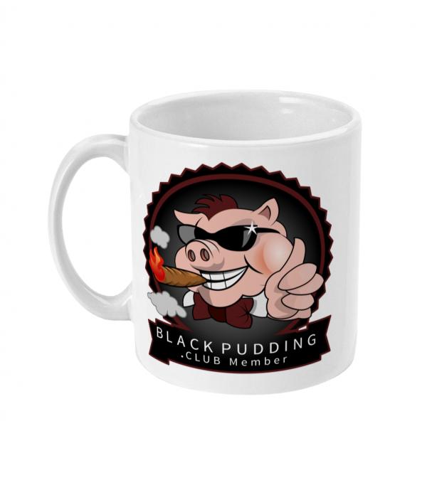 black pudding club member with cigar mug left side mockup