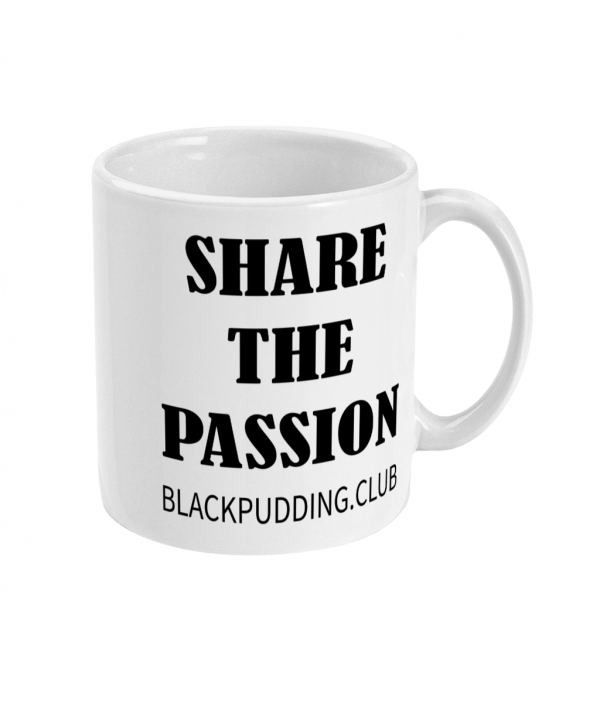 black pudding horseshoe + share the passion mug right side mockup
