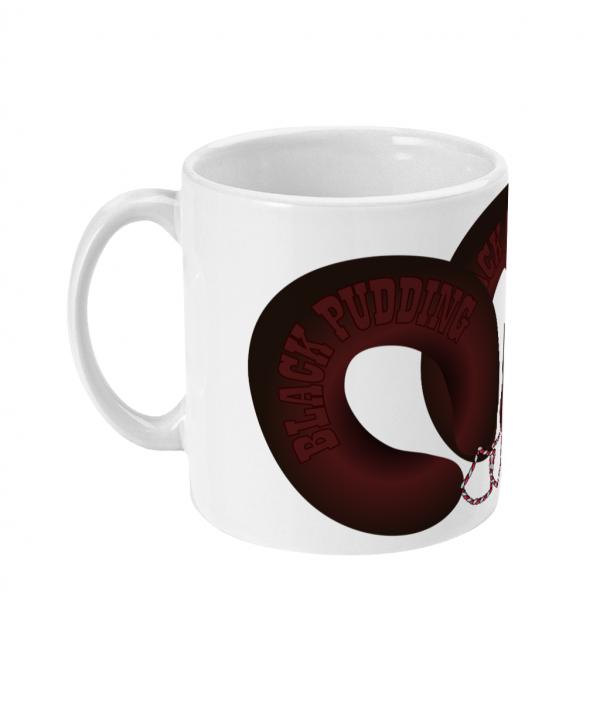 black pudding horseshoes mug left side mockup