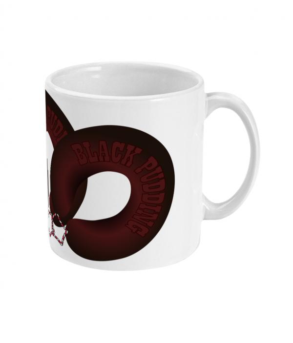 black pudding horseshoes mug right side mockup