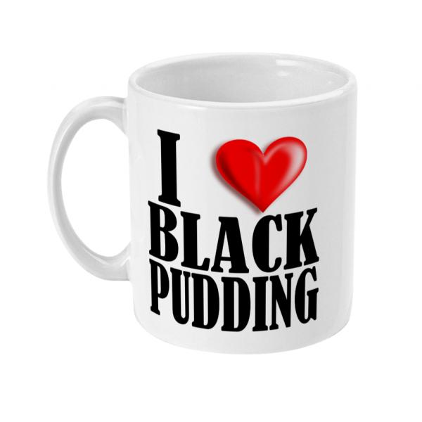 i love black pudding mug left side mockup