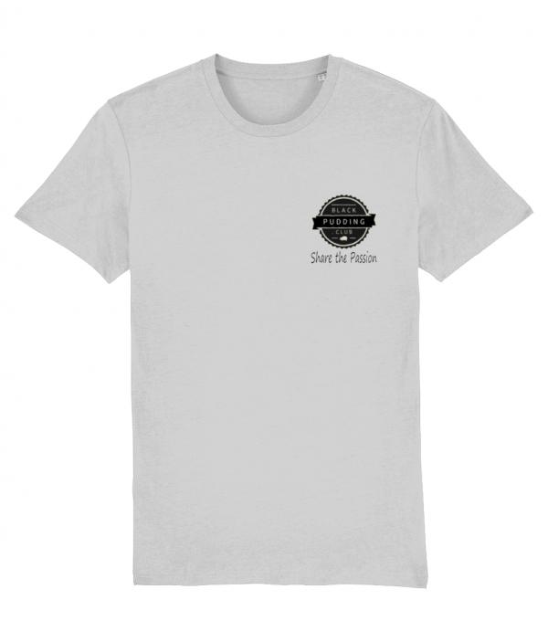 Black Pudding Club Logo Share the Passion T-Shirt Heather Grey