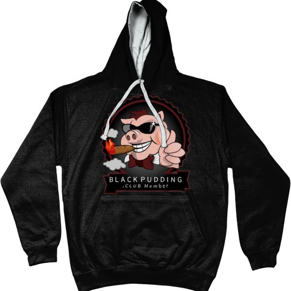 BlackPudding.Club Member Varsity Hoodie - Cool Smoking Pig