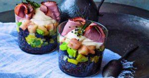 Beluga Lentils with Leeks, Black Pudding, Bramley Apple & Smoked Duck