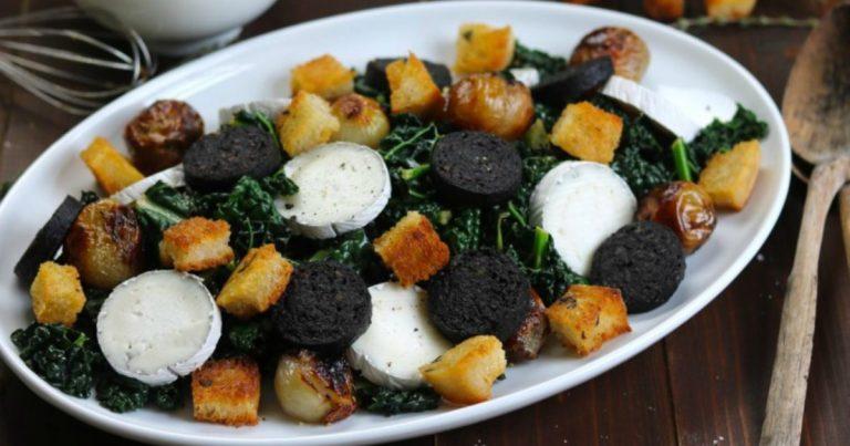 Black Kale, Goat's Cheese & Black Pudding Salad