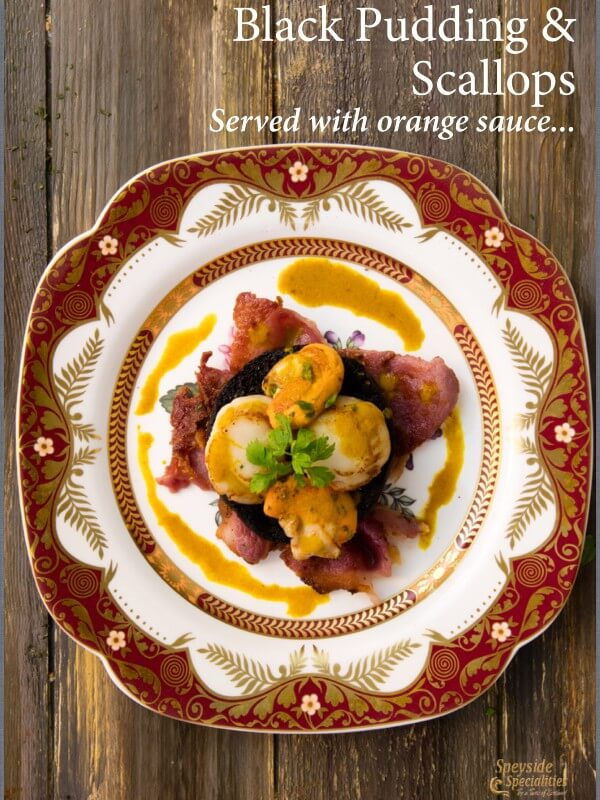 Black Pudding Scallops with Orange Sauce