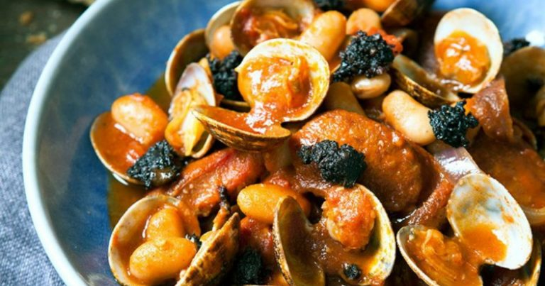 Chorizo and Black Pudding with Clams & White Beans