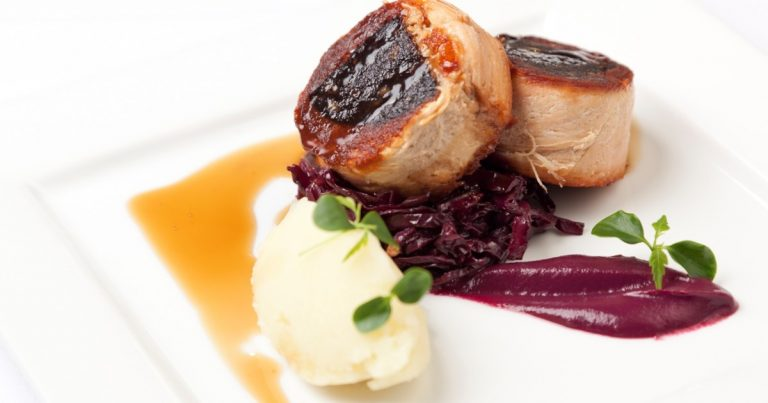 Confit Pork Belly stuffed with Black Pudding