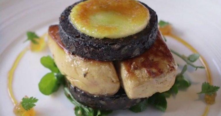Grilled Black Pudding with Foie Gras, Apple & Vanilla Chutney