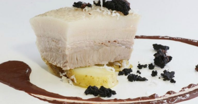 Poached Pork Belly Coconut and Black Pudding
