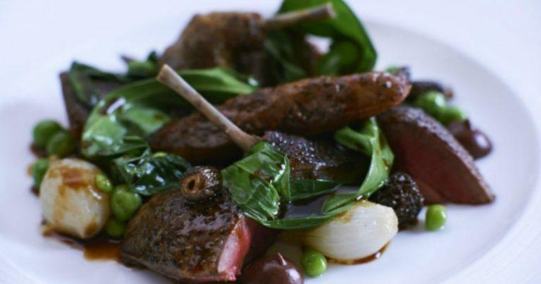 Roast Woodpigeon Peas Wild Garlic Black Pudding Puree Liver Toast