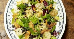 Warm Salad of Scallops and Black Pudding